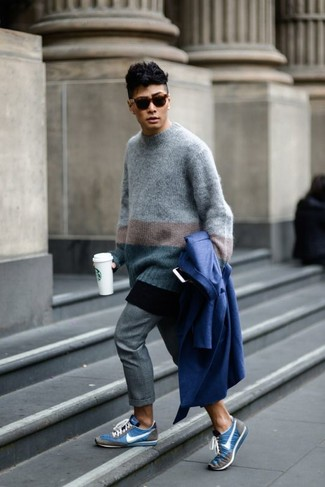 Men's Blue Trenchcoat, Grey Horizontal Striped Crew-neck Sweater, Grey Chinos, Blue Low Top Sneakers
