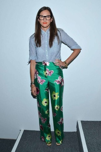 How to wear: blue vertical striped dress shirt, green floral wide leg pants, tan satin pumps