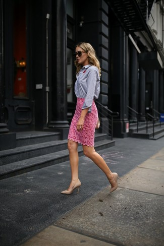 How to wear: blue vertical striped dress shirt, pink lace pencil skirt, beige leather pumps