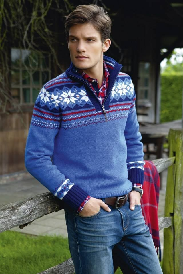 How to Wear a Navy Fair Isle Zip Sweater (3 looks) | Men's Fashion