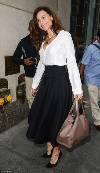 plisada seda combinar falda midi zapatos blanca blusa Cómo de de botones negra Tz17ZFqw