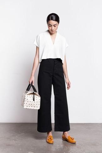 Pantalones anchos negros de Salvatore Ferragamo