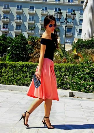 Falda midi plisada rosa de Balmain
