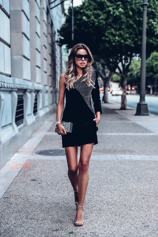 How to wear: black embellished velvet bodycon dress, silver embellished leather heeled sandals, gold clutch, black sunglasses