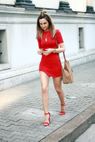 How to wear: red bodycon dress, red suede heeled sandals, tan suede crossbody bag, gold pendant