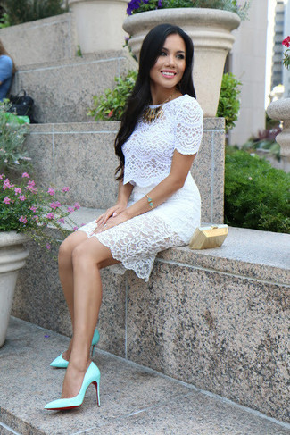 Gracie Lace Bardot Bodycon Dress White
