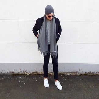 How to wear: navy wool bomber jacket, grey cable sweater, navy chinos, white low top sneakers