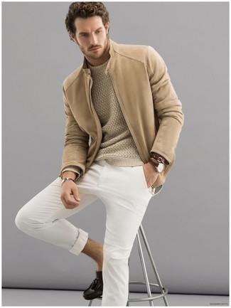 White Chinos Outfits: Pair a tan bomber jacket with white chinos for a comfortable ensemble that's also pieced together nicely. For a fashionable on and off-duty mix, introduce a pair of dark brown leather tassel loafers to the mix.