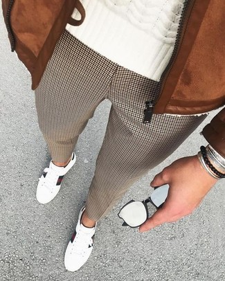How to wear: tobacco suede bomber jacket, white cable sweater, brown houndstooth dress pants, white leather low top sneakers
