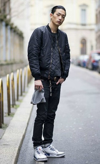 How to wear: black bomber jacket, charcoal cable sweater, black jeans, white high top sneakers
