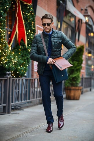 Men's Dark Green Quilted Bomber Jacket, Navy Cable Sweater, Light ...
