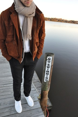 How to wear: brown suede bomber jacket, grey cardigan, white crew-neck t-shirt, black wool dress pants