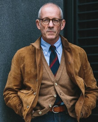 How to Wear a Belt After 60 For Men: Why not make a brown suede bomber jacket and a belt your outfit choice? As well as very functional, these pieces look nice when paired together.