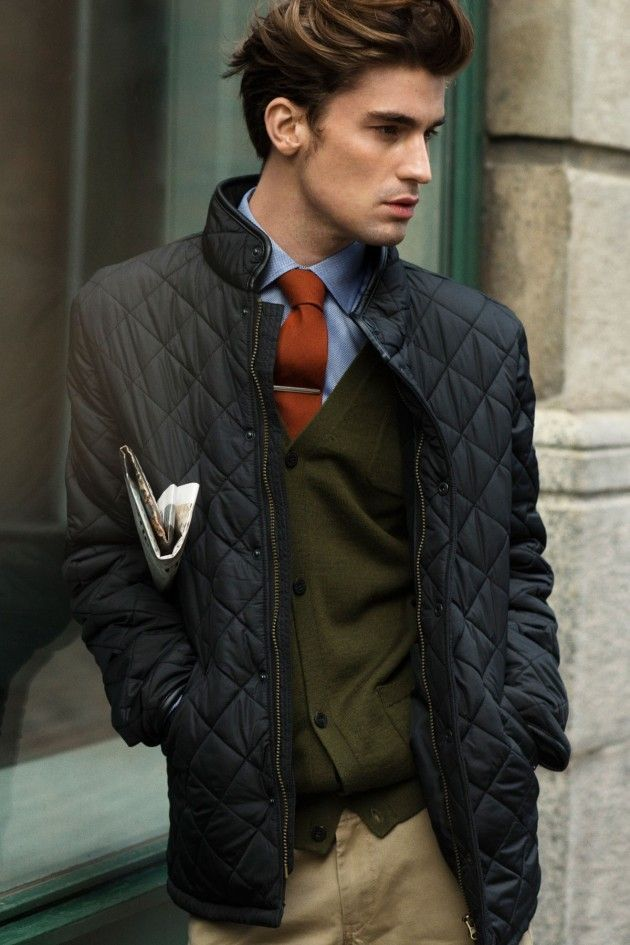 How to Wear a Tobacco Tie (198 looks) | Men's Fashion : black quilted jacket mens - Adamdwight.com