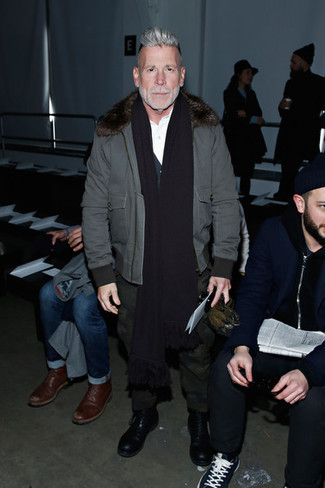 Nick Wooster wearing Grey Bomber Jacket, Navy Cardigan, White Long Sleeve Shirt, Dark Green Camouflage Chinos
