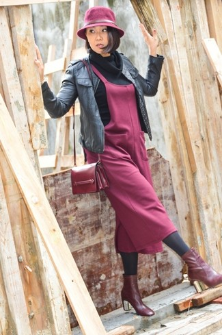 Women's Black Leather Bomber Jacket, Black Cowl-neck Sweater, Burgundy Overall Dress, Burgundy Leather Ankle Boots