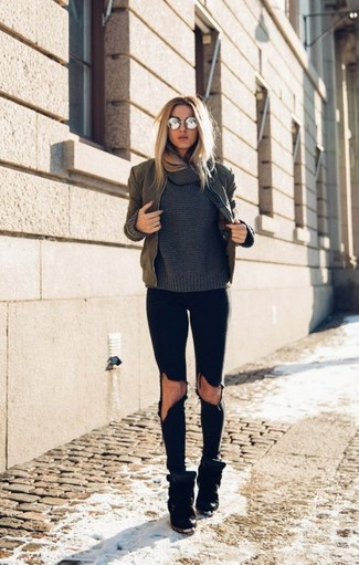 How to Wear a Charcoal Cowl-neck Sweater For Women: Look seriously stylish yet laid-back in a charcoal cowl-neck sweater and black ripped skinny jeans. Black suede wedge sneakers finish this outfit quite nicely.