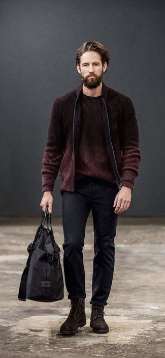 How to wear: burgundy knit bomber jacket, burgundy crew-neck sweater, black chinos, dark brown suede casual boots