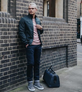 How to wear: black leather bomber jacket, pink crew-neck sweater, navy chinos, grey suede high top sneakers