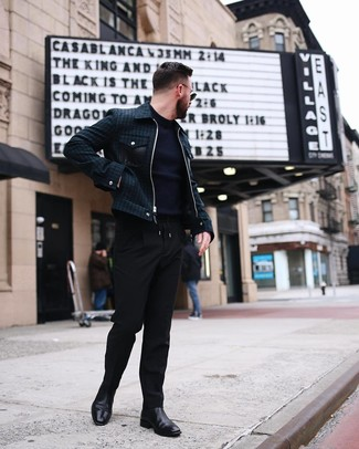 How to wear: dark green bomber jacket, navy crew-neck sweater, black chinos, black leather chelsea boots