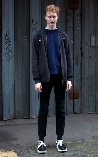 How to Wear Black Socks In Your Teens For Men: Reach for a navy bomber jacket and black socks for an off-duty outfit with a city style spin. If you wish to easily step up your look with a pair of shoes, why not go for a pair of black and white suede low top sneakers?