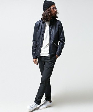 How to Wear White and Black Leather Low Top Sneakers For Men: Such must-haves as a navy leather bomber jacket and charcoal chinos are the perfect way to introduce some cool into your daily repertoire. Feeling experimental today? Switch things up with a pair of white and black leather low top sneakers.