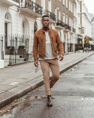Men's Tobacco Suede Bomber Jacket, Beige Crew-neck Sweater, Khaki Chinos, Dark Brown Leather Chelsea Boots