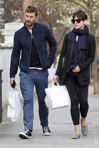 Jamie Dornan wearing Navy Suede Bomber Jacket, Black Crew-neck Sweater, White Crew-neck T-shirt, Blue Chinos