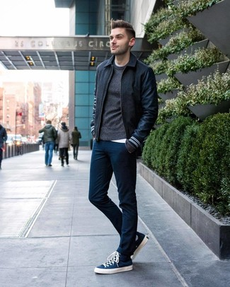 How to wear: charcoal wool bomber jacket, charcoal crew-neck sweater, white crew-neck t-shirt, navy chinos