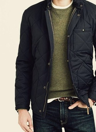 Men's Black Quilted Bomber Jacket, Olive Crew-neck Sweater, White Crew-neck T-shirt, Navy Jeans