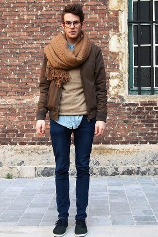 Men's Dark Brown Bomber Jacket, Tan Crew-neck Sweater, Light Blue ...