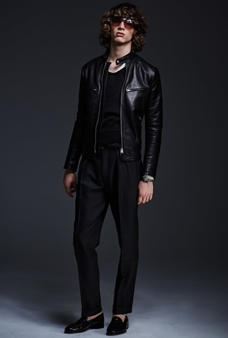 Michl Kors Perforated Leather Bomber Jacket