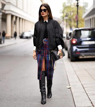 How to Wear a Black Crew-neck Sweater For Women: Consider pairing a black crew-neck sweater with a black plaid pencil skirt for a polished yet laid-back ensemble. Finishing with a pair of black leather knee high boots is a surefire way to inject an added dose of class into this getup.
