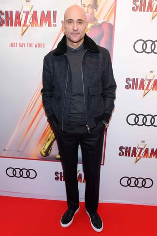 How to Wear a Navy Wool Bomber Jacket For Men: For a look that's elegant and gasp-worthy, consider wearing a navy wool bomber jacket and black dress pants. Go ahead and complete this outfit with black leather low top sneakers for a mellow vibe.