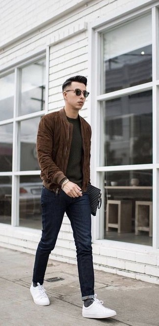 Dark Green Sunglasses Spring Outfits For Men: This combination of a dark brown suede bomber jacket and dark green sunglasses is a safe and very fashionable bet. Finishing with a pair of white canvas low top sneakers is an easy way to bring a little fanciness to your ensemble. A wonderful example of transeasonal style, this outfit is perfect when spring arrives.