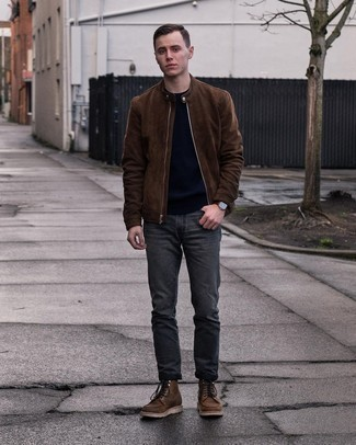 Charcoal Jeans Outfits For Men In Their 20s: Flaunt your prowess in men's fashion by wearing this laid-back pairing of a dark brown suede bomber jacket and charcoal jeans. Dark brown leather casual boots will give a hint of refinement to an otherwise mostly casual ensemble. An excellent choice for 20-year-old guys!