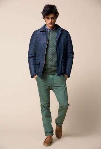 How to wear: navy bomber jacket, green crew-neck sweater, blue plaid long sleeve shirt, green chinos