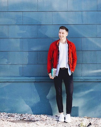 How to Wear a Red Bomber Jacket For Men: For an outfit that brings comfort and dapperness, try teaming a red bomber jacket with black chinos. Don't know how to round off? Complete your outfit with white leather low top sneakers for a more laid-back aesthetic.
