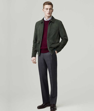 How to wear: dark green suede bomber jacket, burgundy crew-neck sweater, white long sleeve shirt, charcoal wool dress pants