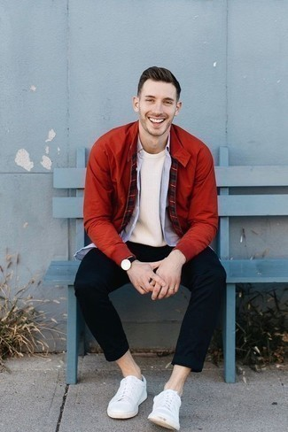 How to Wear a Red Bomber Jacket For Men: A red bomber jacket and navy chinos are the kind of a fail-safe casual combination that you need when you have zero time to dress up. Finishing off with a pair of white leather low top sneakers is a guaranteed way to infuse a more casual feel into your outfit.