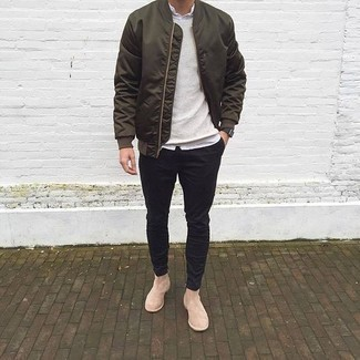 How To Wear Beige Suede Chelsea Boots With a Black Watch For Men: To put together an off-duty menswear style with a fashionable spin, reach for an olive bomber jacket and a black watch. Demonstrate your elegant side by finishing off with a pair of beige suede chelsea boots.