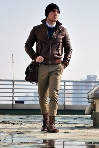 Dark Brown Leather Messenger Bag Outfits: Putting together a brown leather bomber jacket with a dark brown leather messenger bag is a wonderful idea for a casual and cool getup. To give your look a dressier aesthetic, why not introduce a pair of burgundy leather casual boots to the mix?