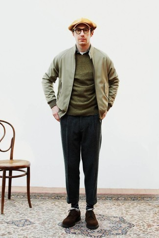 Olive Crew-neck Sweater Fall Outfits For Men: This combination of an olive crew-neck sweater and navy wool dress pants is really sharp and provides instant polish. We're totally digging how cohesive this outfit looks when rounded off by dark brown suede brogues. There's no nicer way to brighten up a gloomy autumn afternoon than an on-trend look like this one.