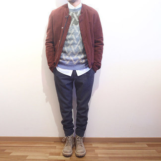 Burgundy Bomber Jacket Outfits For Men: Prove that you do casual like no-one else by wearing a burgundy bomber jacket and navy chinos. Amp up the wow factor of your ensemble by sporting a pair of tan suede casual boots.