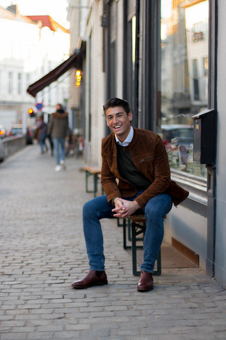 Brown Suede Bomber Jacket Outfits For Men: This pairing of a brown suede bomber jacket and navy jeans is on the casual side yet it's also sharp and extra dapper. If you feel like dialing it up a bit now, complete this getup with a pair of dark brown leather chelsea boots.