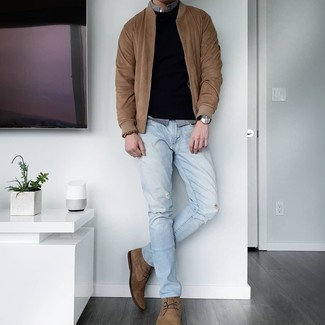 Grey Long Sleeve Shirt Outfits For Men: Parade your skills in men's fashion by wearing this casual street style combo of a grey long sleeve shirt and light blue ripped jeans. Complement your ensemble with a pair of brown suede desert boots to instantly jazz up the ensemble.