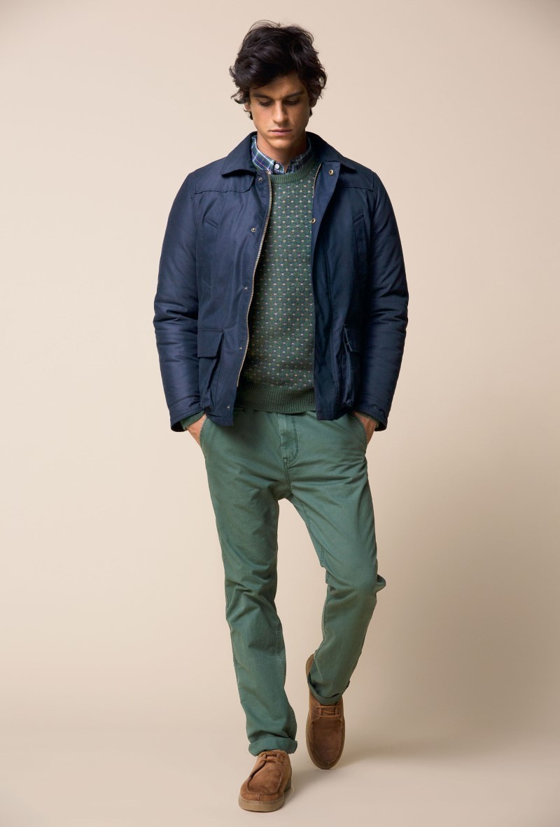 Men's Navy Bomber Jacket, Green Crew-neck Sweater, Blue Plaid Long ...