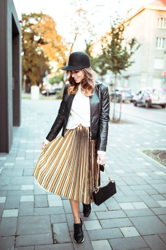 How to wear: black leather bomber jacket, white crew-neck sweater, yellow pleated midi skirt, black leather low top sneakers