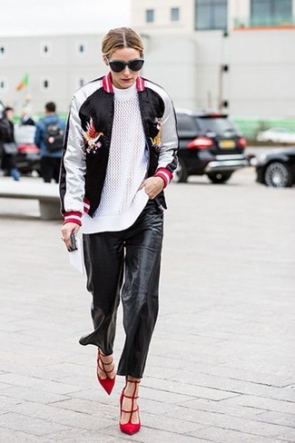 Olivia Palermo wearing Black and White Bomber Jacket, White Crew-neck Sweater, Black Leather Pajama Pants, Red Suede Pumps