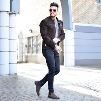 01a496614 ... chelsea boots to this look? How to wear: dark brown suede bomber  jacket, grey crew-neck sweater,